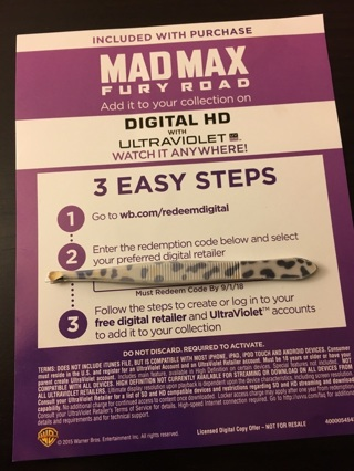 Mad Max fury Road  Digital download