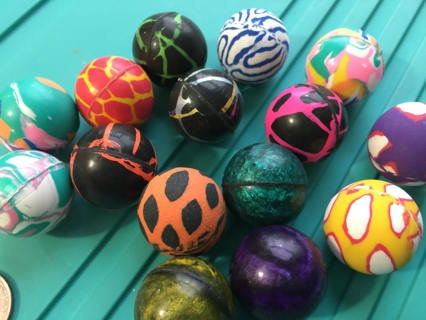"""Qty of 15 Assorted Colorful Bouncy Balls all New """"For Birthday Parties and Games"""""""