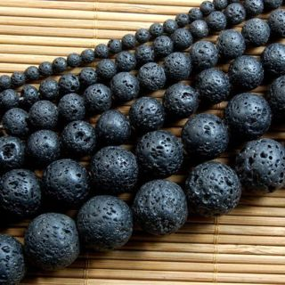 "Natural Black Volcanic Lava Gemstone Round Beads 15.5"" 6mm 8mm 10mm"
