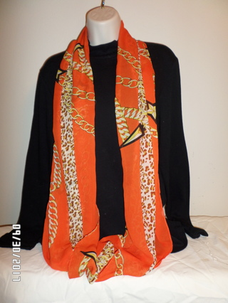 Orange Infinity Scarf with Leopard Trimmings