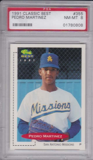 Pedro Martinez Rookie Card - 1991 Best Card# 355 - Professionally Graded Nm-MINT PSA 8 - MLB HOF !!!