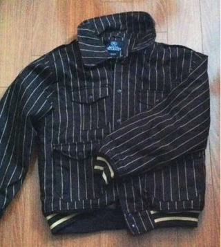 Free Men S Large Brown Pinstripe Imperious Heavy Jacket Delf
