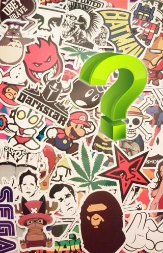 1 LOT Mystery RANDOM 8 NEW Stickers *Luck of The Draw* (8) NEW Random Pop Culture Stickers Art Music