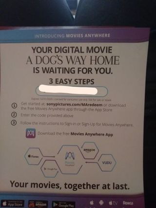A Dogs Way Home UV Code Only