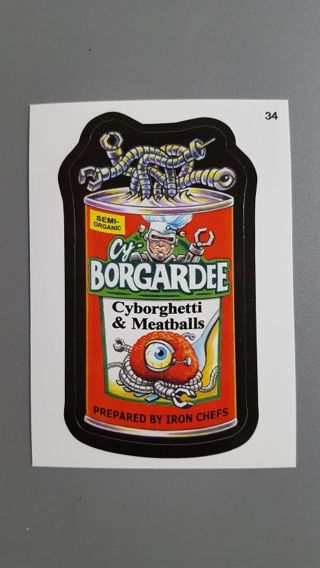 2015 Topps Wacky Packages • Card #34 CY-BORGARDEE • with Wacky Coupon on Back •