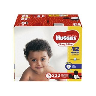 HUGGIES Snug & Dry Diapers, Size 3, for 16-28 lbs, One Month Supply (222 Count) of Baby Diapers
