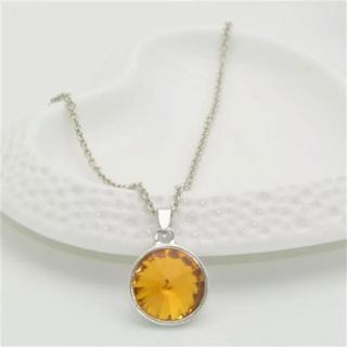 Yellow-Orange Round Pendent Crystal Rhinestone Necklace