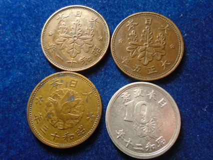 1916 1922 1938 & 1946 JAPAN OLD COINS!