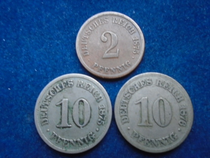 1875 & 1876 OLD GERMAN COINS...FULL DATES!