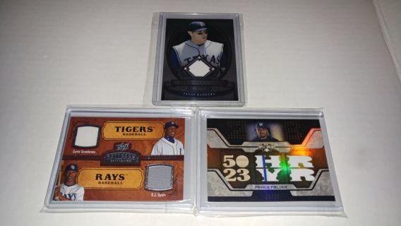 Baseball Cards LOT OF 3 Jersey Dual Triple Bat Relic Combo HAMILTON, GRANDERSON/UPTON, FIELDER 12/27