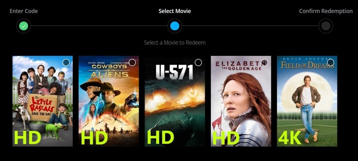 Field of Dreams 4K/U-571/Elizabeth Golden Age/Little Rascals./Cowboys & Aliens Digital Code Pick One