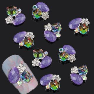 10Pcs Shiny 3D Pendant Nail Art Tips Decoration Crystal Rhinestone Alloy Charm
