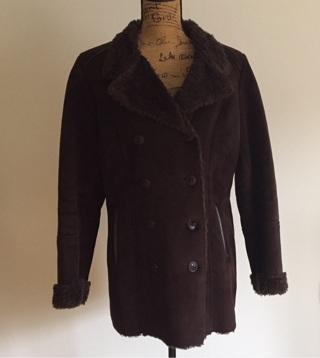 Sonoma Life + Style Faux Leather & Fur Peacoat, Size Large