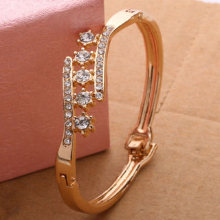 Jewelry Gold Plated Crystal Cuff Bangle Charm Bracelet