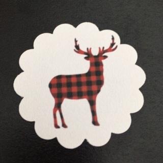 **64** Buffalo Plaid Reindeer Silhouette Christmas Paper Tags