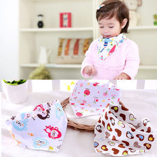2PCs Baby Cotton Towel Toddler Newborn Triangle Scarf Feeding Smock+ Button