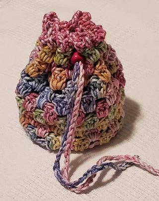"""Crochet Pull String Gift Bag**LQQK*** 5""""Tall 4.5"""" Diam"""