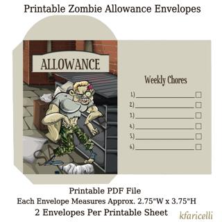 Printable Zombie Allowance Coin Envelopes