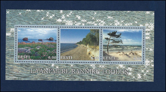 Estonia 2001 Baltic Landscapes stamp sheet, MNH XF, Scott #424