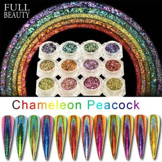 0.2g Peacock Holographic Chameleon Nail Sequins Colorful Laser Glitter Powder Dust Nail Art Decora