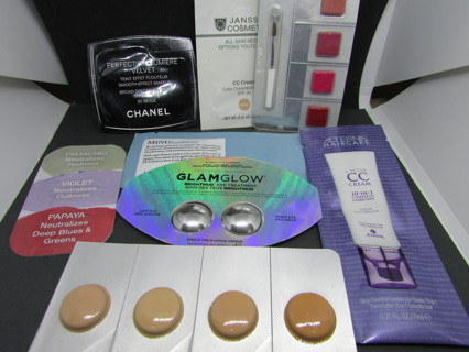 HIGH END SAMPLE LOT- URBAN DECAY- CHANEL- GLAM & GLOW- CLINIQUE- SEPHORA- CC- BOBBY BROWN- ETC...