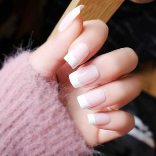 24Pcs/set Long White French False Nails Pink Nep Nagels Acrylic Classical Full Artificial Nails fo