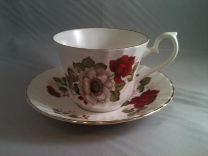 Gorgeous Vintage Royal Kendal Bone China England cup saucer Gold trimmed