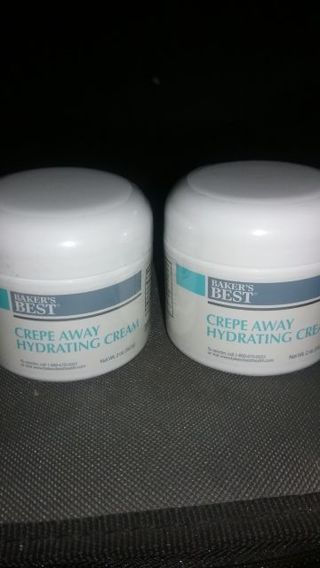 2 Brand New Jars of Baker's Best Crepe Away Hydrating Face/Body Cream 2oz