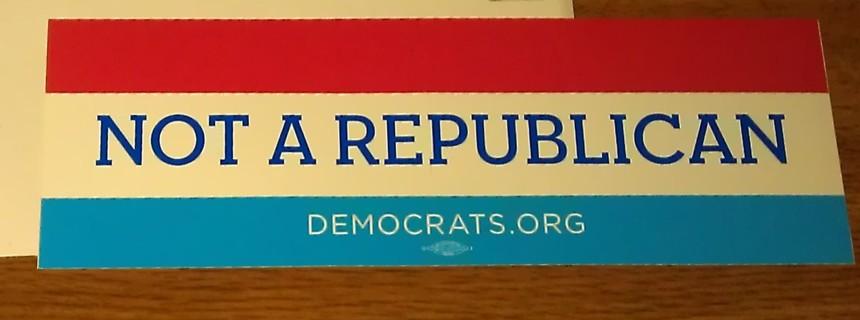"""2016 Obama """"Not A Republican"""" bumper sticker"""