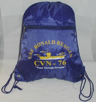 USS Ronald Reagan CVN-76 Peace Through Strength Backpack Drawstring Ditty Bag
