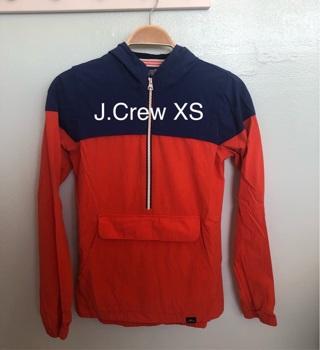 J.Crew XS Colorblock Hooded Windbreaker Jacket • Deep Large Pockets • Lightweight • Free Shipping