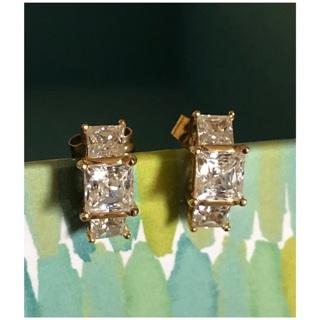 14KT Yellow Gold Child Size Princess Cut CZ Earrings