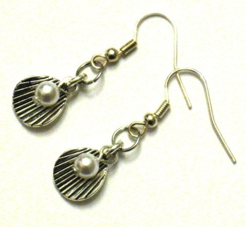 Silver Shell and Pearl Dangle Earrings - New