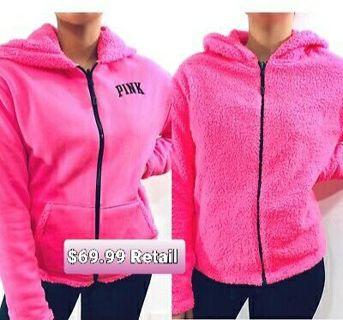 VS PINK Reversible Sherpa Hoodie Jacket! Sz Medium.