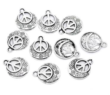 25mm unique silver tone peace charm