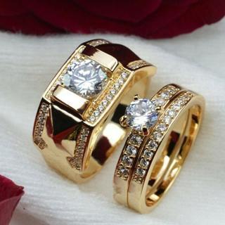 Couple Women 18K Gold Filled Diamond Men Size 7-14 Size 5-12 Engagement Ring Set