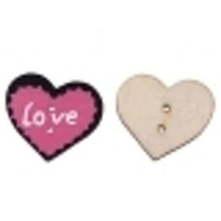 Two Fuchsia 'Eternal LOVE' Wood Button - About 30x26mm