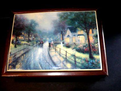 "Vintage ""Thomas Kinkade"" Genuine Thomas Kinkade Wooden Jewelry Box"