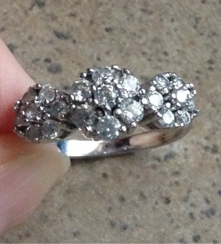 Sterling triple cluster Cz ring