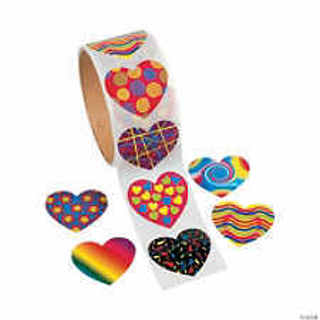 8 Different Design Heart Stickers - About 40mm