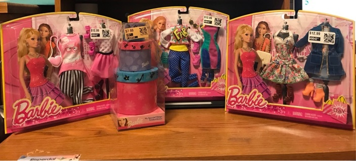 Lot of Barbie Outfits with shoes & purses & Trinket boxes
