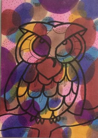 Owl design original drawing aceo