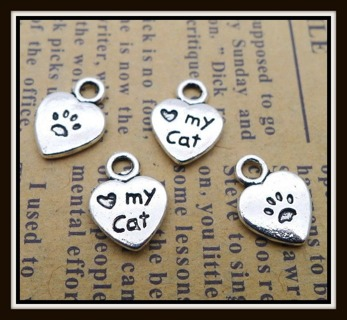 "TWO pc SET (2pc) Cute Lil ""LOVE MY CAT"" Antiqued Tibetan Silver Charms Pendants, 12mm x 9mm, NEW!"