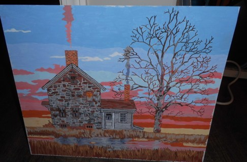 Cabin On the Lake Painting - New