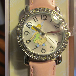 Brand New Disney Parks Tinker Bell Watch, Pink Band, Silver Face, Crystals Around Bezel