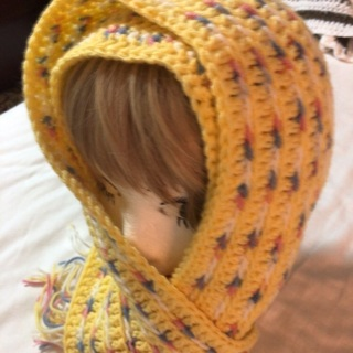 Hand Crochet Multi Yellow color scarf with Tassels .