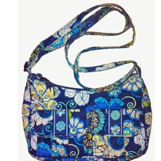 FREE  Vera Bradley Mod Floral Blue Cross Body Purse Shoulder Bag Retired  f0460dcbc9c17