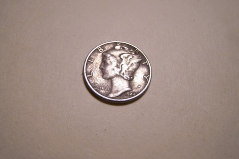 Silver 1944 Winged Liberty Head Mercury Dime
