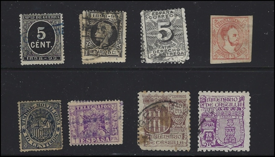Interesting Spain Revenue and BOB stamps, possible Carlist stamp