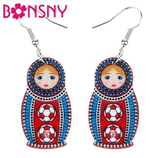 Bonsny Acrylic Unique Football Russian Doll Earrings Dangle Drop Fashion Jewelry For Women Girls